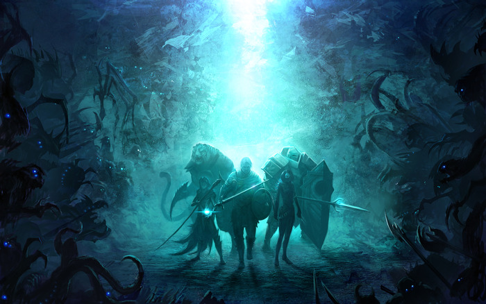 Surrounded by denizens in the deep. Concept Art by Brett MacDonald.