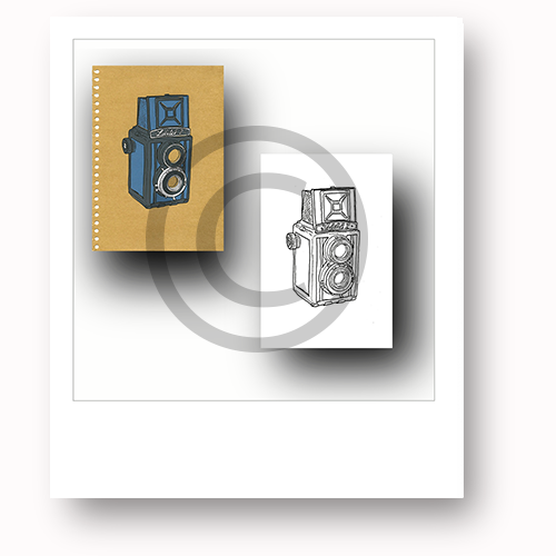 Reward #18. Pledge £25 or more for a hand printed silkscreen print of a vintage Lubitel 2 TRL camera on A4 white cartridge paper or brown paper with perforations, by local artist David Hurn. + a set of limited edition postcards. See rewards for more info.