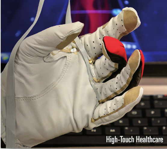 Early version of Nizan's sensor glove used with a custom video game-based hand rehabilitation therapy regimen. Sensor systems connected computers have amazing potential to transform health care.