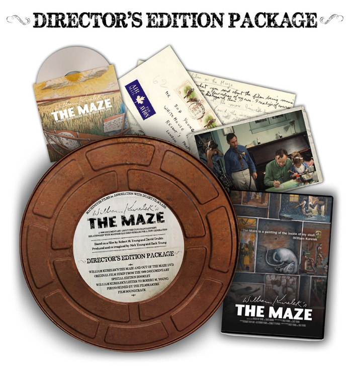 Vintage film canister containing signed DVD/Blu-ray, signed 8x10 color photo from the making of the 1969 version, a replica of a letter written from William Kurelek to Robert M. Young, and a limited booklet containing rare, exclusive paintings + photos