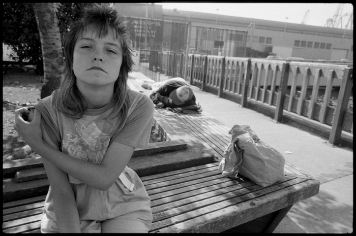 Tiny on a Bench during Streetwise, Seattle, Washington, 1983