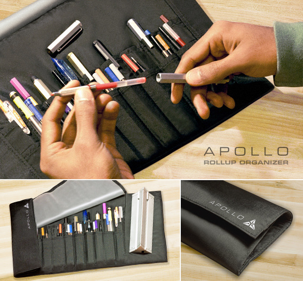 Keeps your pens and extra refills organized in a professional black nylon carrying case.