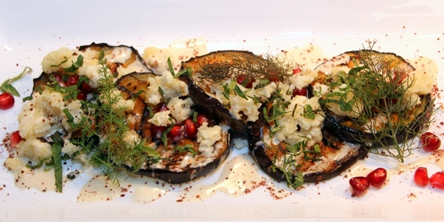 Grilled aubergine and pomegranate salad with macademia nut feta