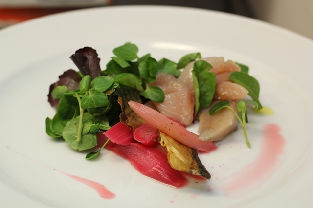 Ginger-cured Sussex mackerel, with rhubarb and vanilla compote and seasonal leaves