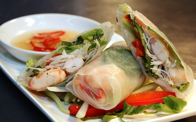 Prawn summer rolls with nuoc cham dipping sauce