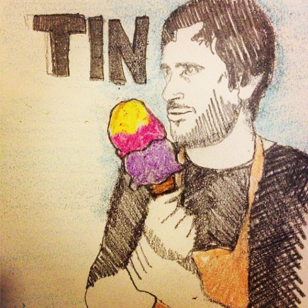 Tin eats pb&j ice cream!