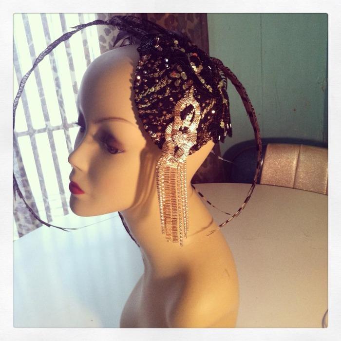 Custom Burlesque Headdress Fascinator by Burlesque Star Beelzebabe $275
