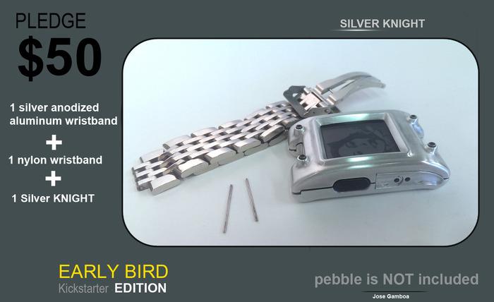 ANTICIPADA, a sólo 100 caballeros de la astilla con una pulsera de aluminio anodizado plata y una correa de nylon