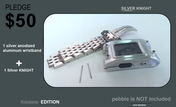 SILVER KNIGTH with a anodized silver aluminum wristban