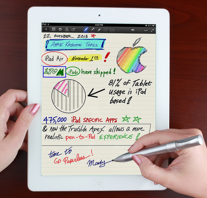 One of our team members taking notes with the TruGlide Apex during the Apple Keynote on October 22, 2013