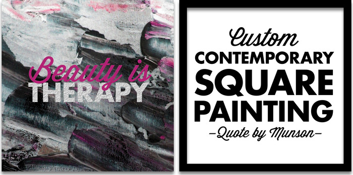 Painting is pictured with pink text, but is also available in neutral!