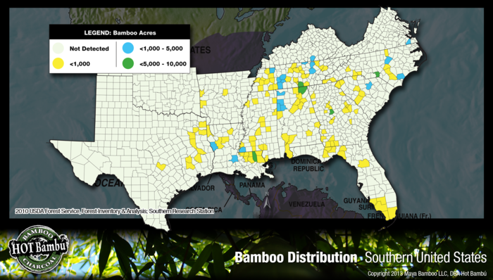 Invasive and noninvasive bamboo by acres in S. United States USDA combined maps 2010.