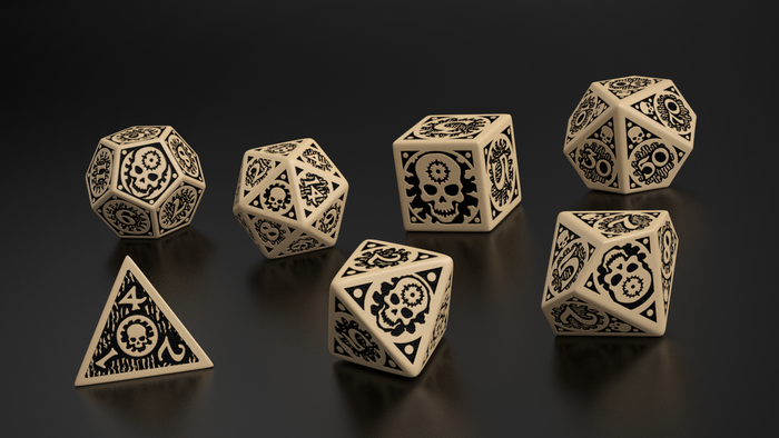 Mock-up of East Mark seven dice set, by Q-Workshop