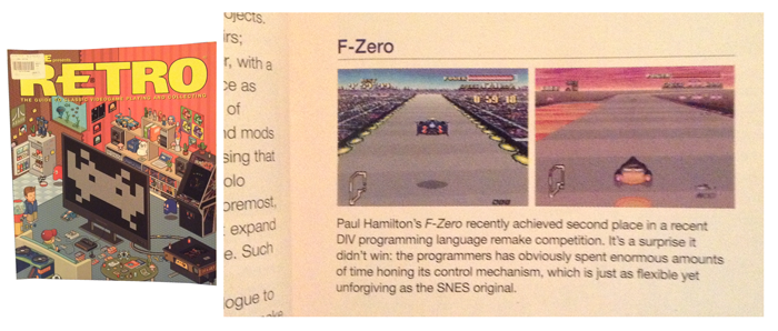 My F-Zero retro remake, created for a competition in 2002. It won 2nd place and featured in a special RETRO edition of EDGE magazine with a positive synopsis. Being one of my first completed projects it was a very proud moment for me!