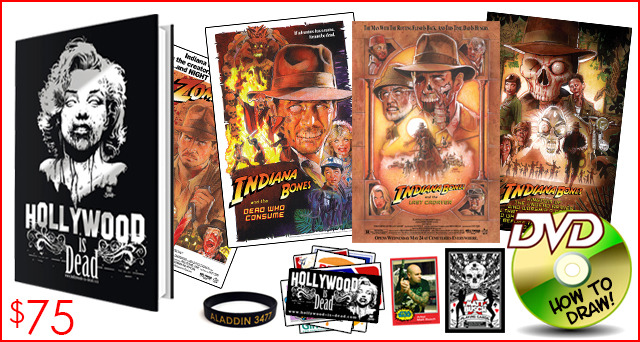 10.) THE INDIANA BONES PACKAGE. In addition to the brand new hardcover book, you'll get all 4 Indiana Bones prints. You can hang then up in order and show all your friends how Indiana slowly decays over the years.