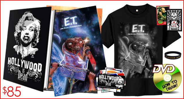 12.) E.T. THE EXTRA TERRORESTRIAL PACKAGE: In addition to the book and other cool rewards, you get an E.T. shirt and art print. As if E.T. isn't already scary enough...