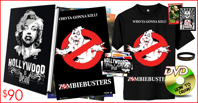 13.) THE ZOMBIEBUSTERS PACKAGE. Who ya gonna kill? Get a ZombieBusters T shirt and art print with your book!
