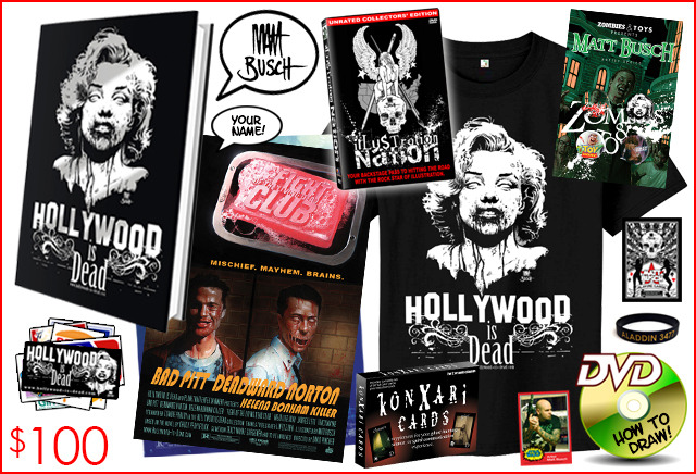 15.) HOLLYWOOD IS DEAD CLUB MEMBER. The only package with exclusive buttons from Zombies & Toys! And the only package with the Undead Marilyn shirt. Art prints shown may vary from ones shown, but you're a club member now, so we'll take care of you.