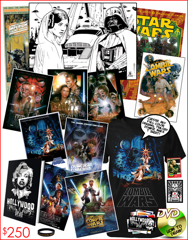 19.) THE DEAD JEDI PACKAGE. An incredible opportunity to own Matt Busch's original art from the upcoming Star Wars Illustrated trading card set from Topps! Plus other rare Star Wars and Zombie Wars art prints!