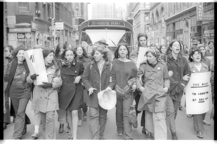 Early abortion demo, taking over the streets!   Photo by Sid Sattler
