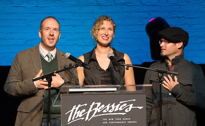 Zach Morris, Jennine Willett, & Tom Pearson accepting a 2013 Bessie Award for Outstanding Production for Then She Fell; photo by Christopher Duggan