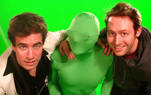 Bobby & Andrew with green friend (Drew Rosas)