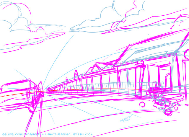 2. Background sketch in Photoshop (based on the perspective grid from Step 1)