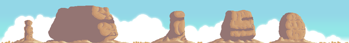 The skyline for the track 'Monument Valley'. The large rock formations were created by my son (like all 10yr olds he's awesome at everything he attempts, if you can get him off of Terraria first!)