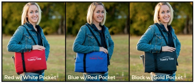 ToastyTote comes in your choice of three colors: Red w/White Pocket, Blue w/Red Pocket and Black w/Gold Pocket.