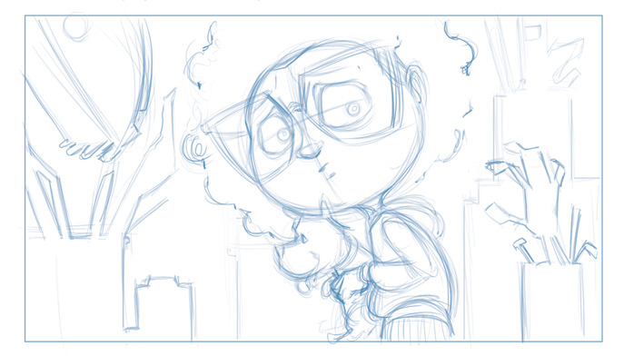 "A panel sketch from ""Saturday"" the book"