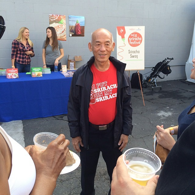 David Tran meets his admirers at the LA Sriracha Festival