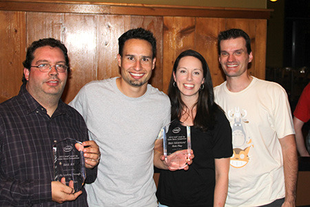 "Pictured above Christian, Steve, Jessica, and Daran accepting 2 awards for ""Best Art Design"" and ""Best Adventure/Role Playing Game"" from the Intel Level Up Contest at PAX Prime."