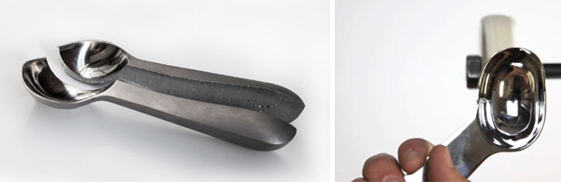 L: Solid form of Belle-V scoop. R: Hand finishing.
