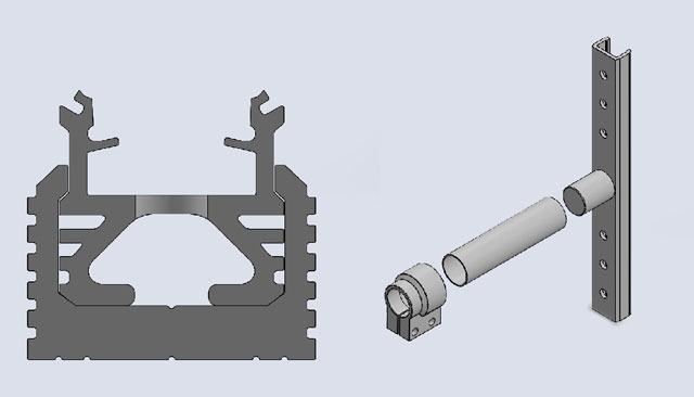 Extrusion profile next to Bracket/Stud
