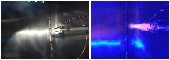 First plasma discharge in the CAT prototype. We will use a camera in space to image the plasma discharge and exhaust plume to look at the physics of how the plasma follows our new magnetic nozzle. (left - lab test setup, right - plasma!)