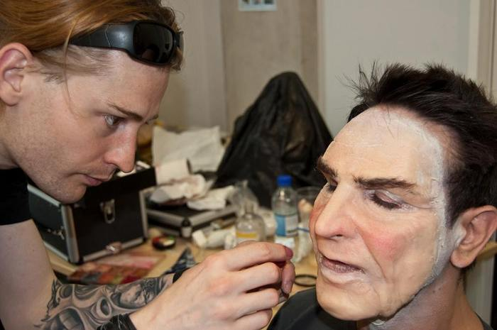 "Paul While of Graphic Delusions applying the ""Ronnie"" facial prosthetic"