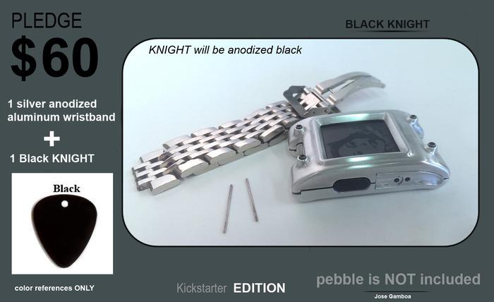 1 Negro KNIGHT, una bonita armadura de aluminio anodizado negro + una pulsera de aluminio anodizado plata