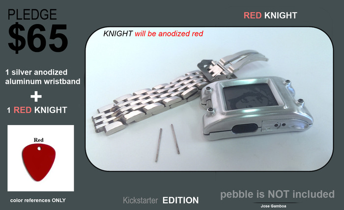 EARLY BIRD. (50 units) Red Knight+ black anodized aluminum wristband.