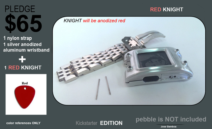 ANTICIPADA.  (50 unidades) Red Knight + correa de nylon negro + plata pulsera de aluminio anodizado.