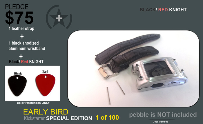 EARLY BIRD with the BEST. BLACK/ RED NIGHT + black anodized aluminum wristband + black leather wristband