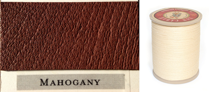 Rich Mahogany Leather & Ecru (natural) Thread