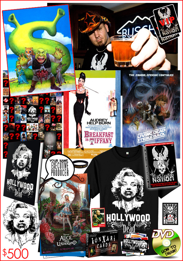 20.) ULTIMATE UNDEAD BACKSTAGE PASS. Your chance to get VIP passes for you and a guest to spend an evening with Matt Busch at his home studios! Matt will draw you zombified in your book! Plus, your package includes an original Hollywood-is-Dead painting!