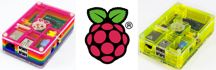 Pibow cases and the iconic Raspberry Pi logo
