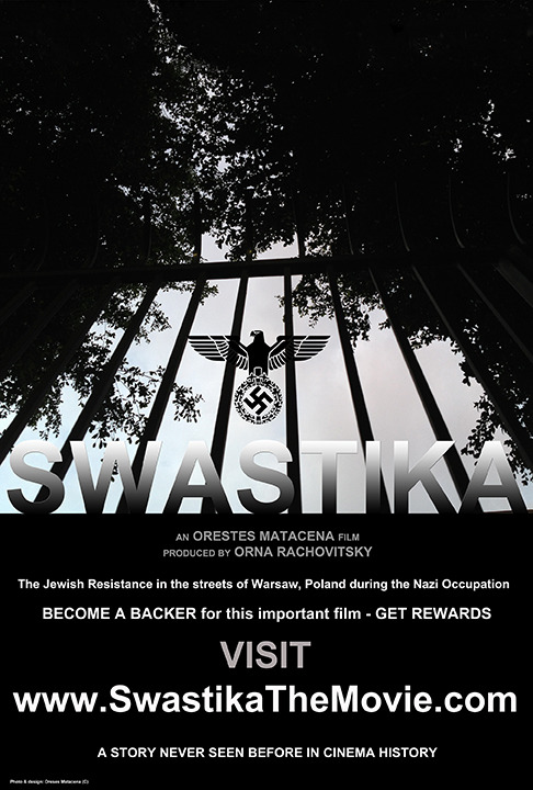 "Poster of ""Swastika"" depicts Europe and the entire world nearly conquered by the Nazis. The Nazi emblem is positioned higher as the world looks out of the bars symbolizing Nazi mass control and imprisonment of people."
