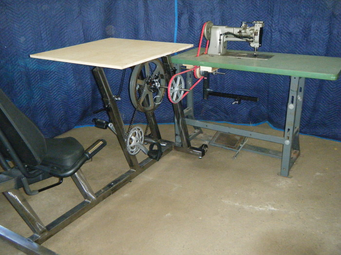 A pedal powered industrial sewing machine.