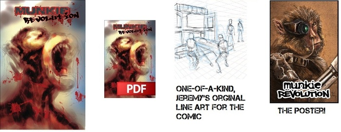 Physical comic, PDF version, a poster, and the one-of-a-kind line art from the comic itself!