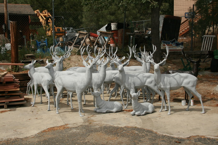 The deer herd of Idyllwild before the acrylic painting by the artists.
