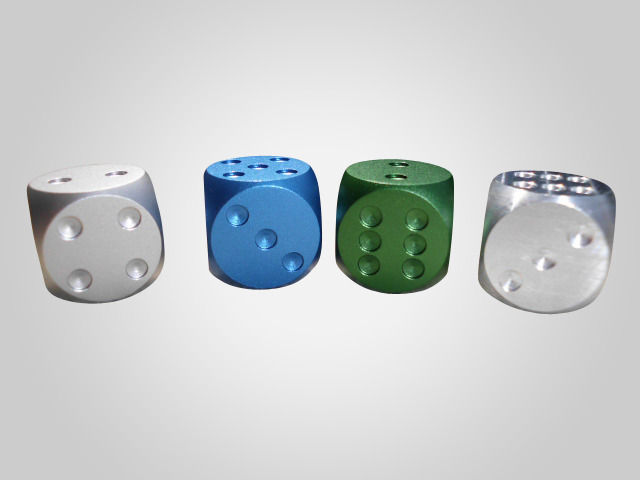 D6 Dice Protoypes- PIPS will be machined out after anodized