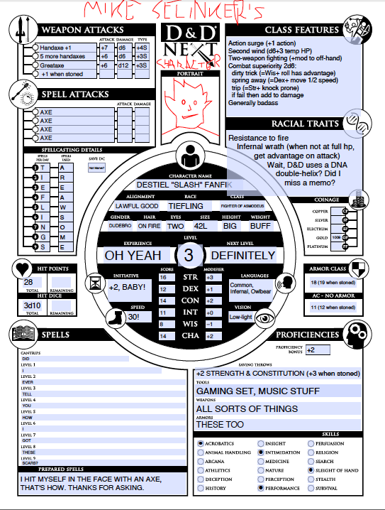 Front of my character sheet
