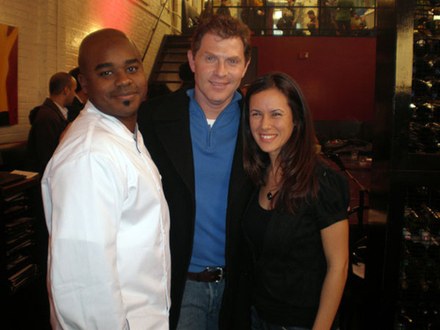 Nicole on the set of Throwdown with Bobby Flay.